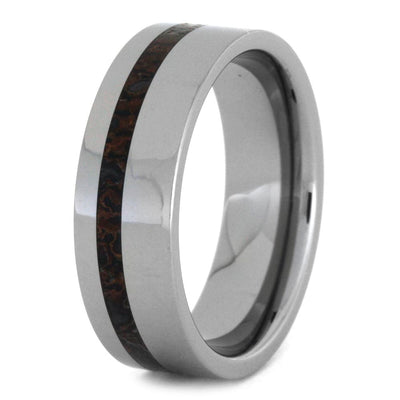 Authentic Dinosaur Bone Wedding Band In Polished Tungsten-SIG3009 - Jewelry by Johan