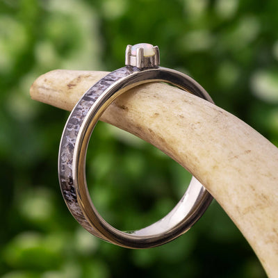 Opal Engagement Ring with Antler