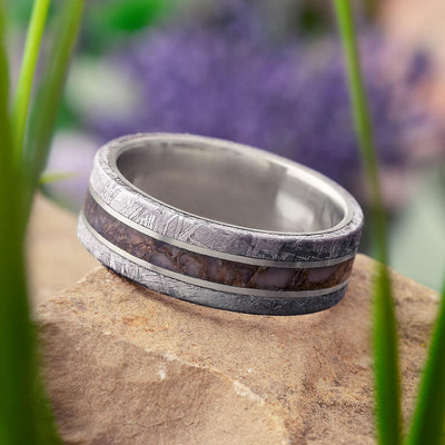 Meteorite Wedding Band with Fossil Inlay