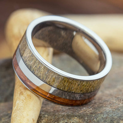 Whiskey Barrel Ring with Antler