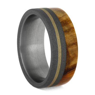 Sandblasted Titanium Wedding Band with Black Ash Burl Wood-1060 - Jewelry by Johan