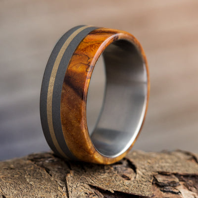 14k Gold Ring in Sandblasted Titanium and Black Ash Burl Wood-1060 - Jewelry by Johan
