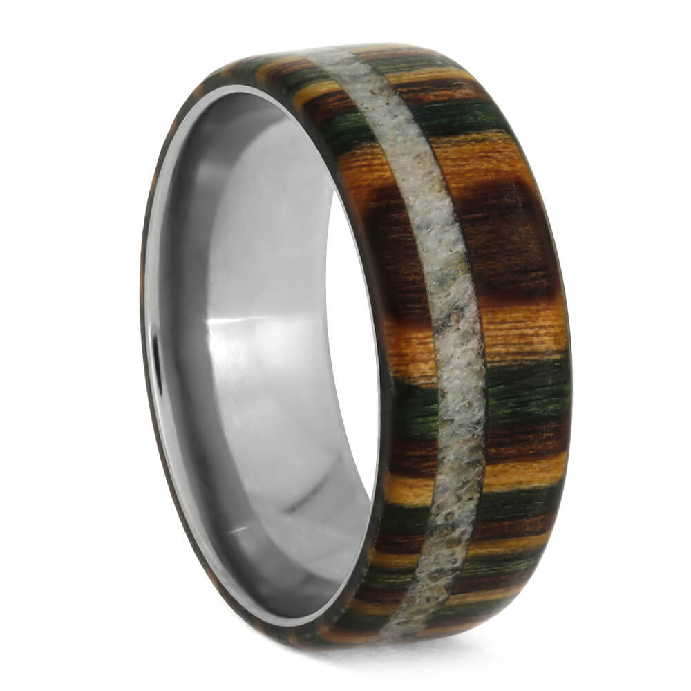 Camo Wedding Band With Dymondwood And Antler