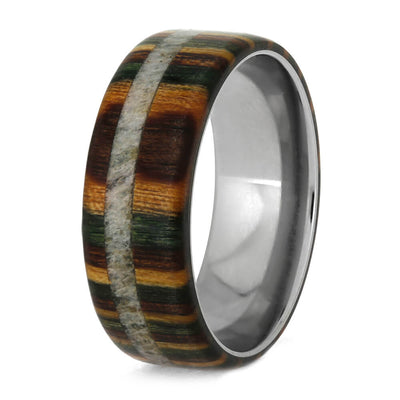 Camo Wedding Band With Dymondwood And Antler-2140 - Jewelry by Johan
