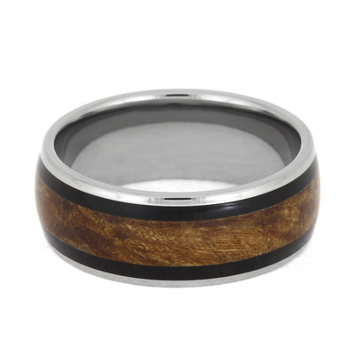 Maple Burl Wood Ring With African Blackwood Inlays, Titanium Ring-2396 - Jewelry by Johan