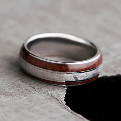 Natural Redwood and Meteorite Ring, Custom Wood Wedding Band-2427 - Jewelry by Johan