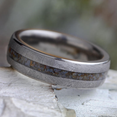 Fossil Wedding Band With Gibeon Meteorite And Crushed Dinosaur Bone-2428 - Jewelry by Johan