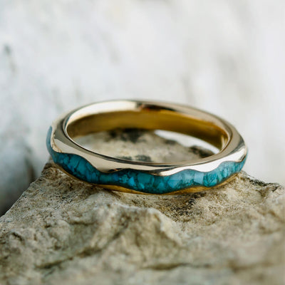 Wavy 14k Gold Ring With Crushed Turquoise Inlay, Handmade Ring-2431 - Jewelry by Johan