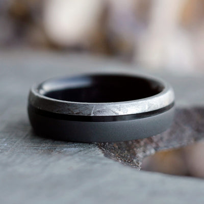Sandblasted Men's Titanium Ring With Meteorite and Ebony Wood-2493 - Jewelry by Johan