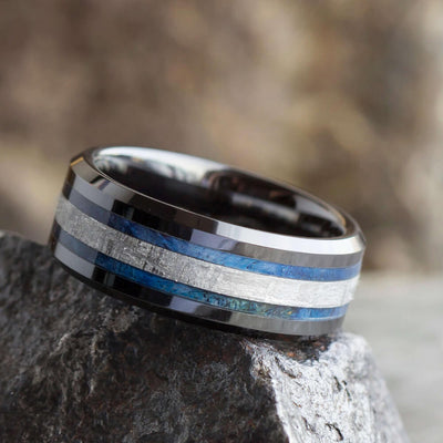 Meteorite and Blue Box Elder Burl Wood Ring With Beveled Edges-2544 - Jewelry by Johan