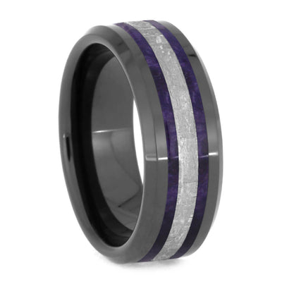 Men's Meteorite Wedding Band With Purple Box Elder Burl Wood-2548 - Jewelry by Johan