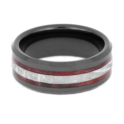 Red Box Elder Burl Wood and Meteorite Ring With Beveled Edges-2549 - Jewelry by Johan