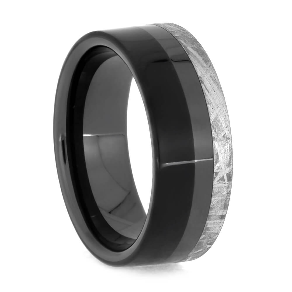Masculine Black Ceramic Ring With Meteorite and Ebony Wood, Space Jewelry
