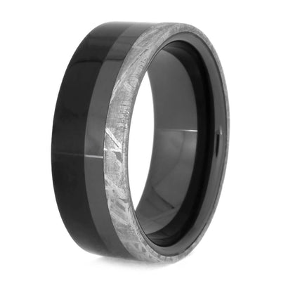 Masculine Black Ceramic Ring With Meteorite and Ebony Wood, Space Jewelry-2551 - Jewelry by Johan
