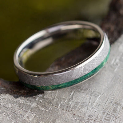 Green Wood Ring for Men, Titanium Wedding Band With Meteorite-2592 - Jewelry by Johan