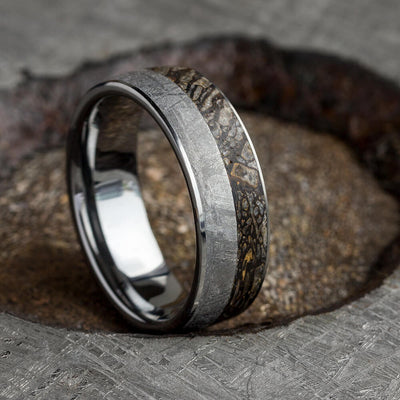 Tungsten Wedding Band for Men pictured in crater