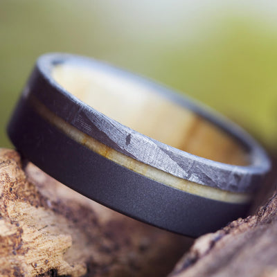 Aspen Wood Men's Wedding Band With Meteorite, Sandblasted Titanium Ring-2608 - Jewelry by Johan