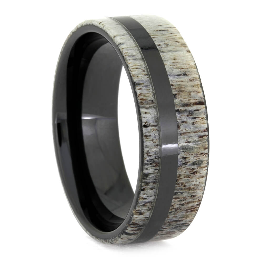 Black Ceramic Deer Antler Men's Wedding Band