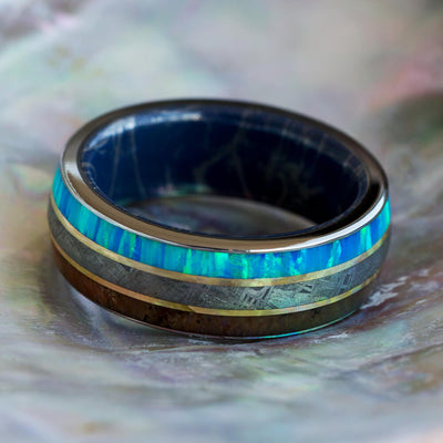 Meteorite And Fossil Ring With Mokume Sleeve And Yellow Gold Pinstripes-2637 - Jewelry by Johan
