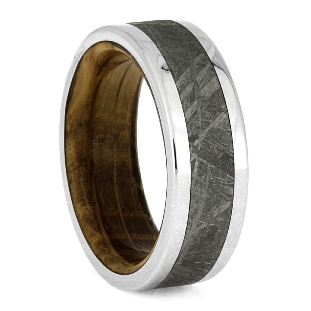 Whiskey Oak Wood Ring, Meteorite Men's Wedding Band In Titanium