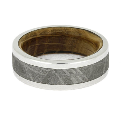 Whiskey Oak Wood & Meteorite Men's Wedding Band-2649 - Jewelry by Johan