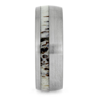 Brushed Titanium Wedding Band With Oak Wood Sleeve And Antler-2702 - Jewelry by Johan