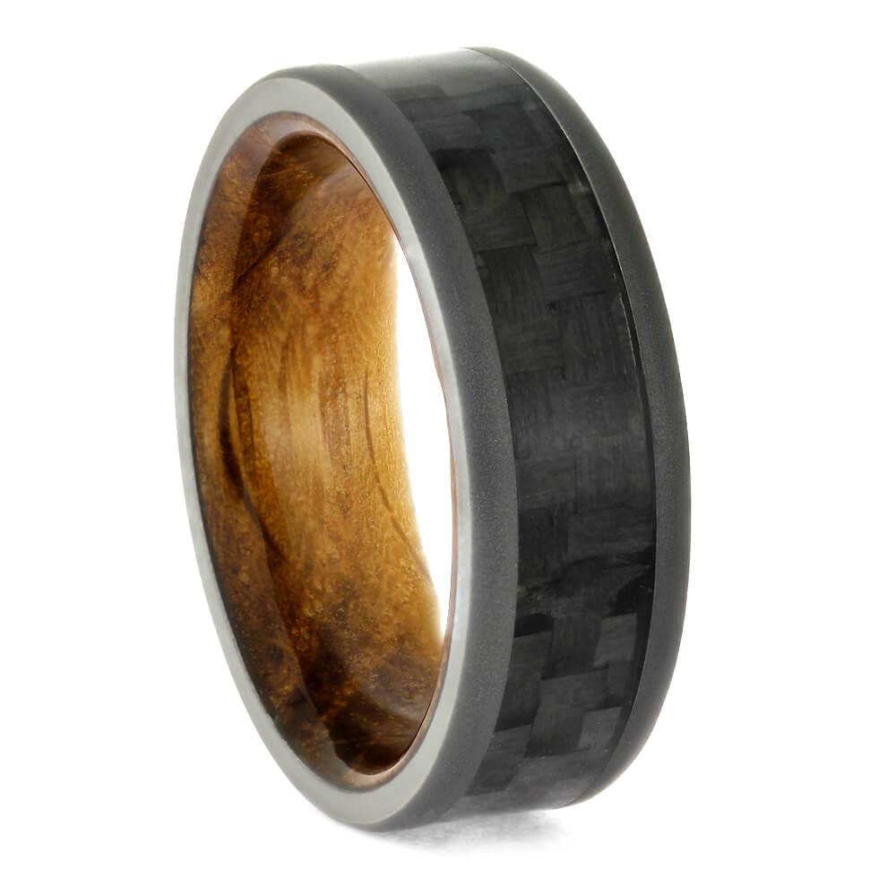 Carbon Fiber Wedding Band, Whiskey Oak Sleeve Ring With Sandblasted Titanium-2707