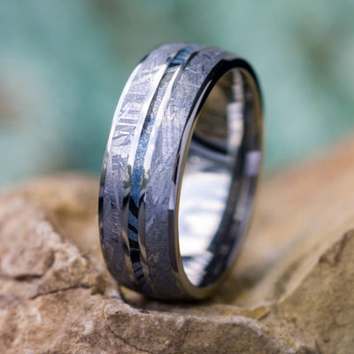 Blue Meteorite Ring, Titanium Men's Wedding Band With Mokume Gane-2725 - Jewelry by Johan