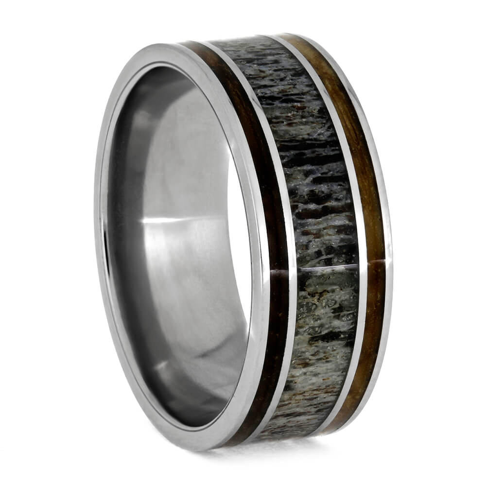 Wood and Antler Men's Wedding Band