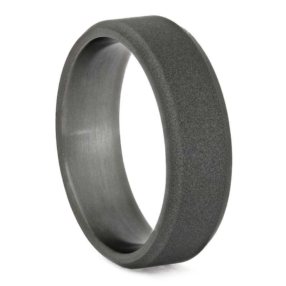 Simple Titanium Wedding Band With Sandblasted Finish And Beveled Edges-3684