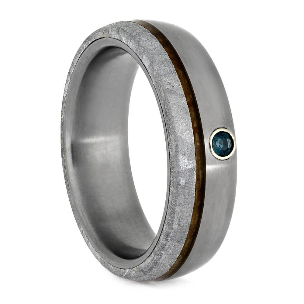 Alexandrite Wedding Band With Meteorite And Whiskey Barrel Wood