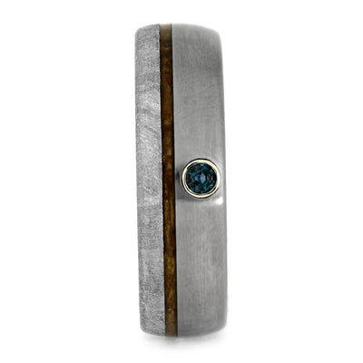 Alexandrite Men's Wedding Band With Meteorite And Whiskey Barrel Wood-3694 - Jewelry by Johan