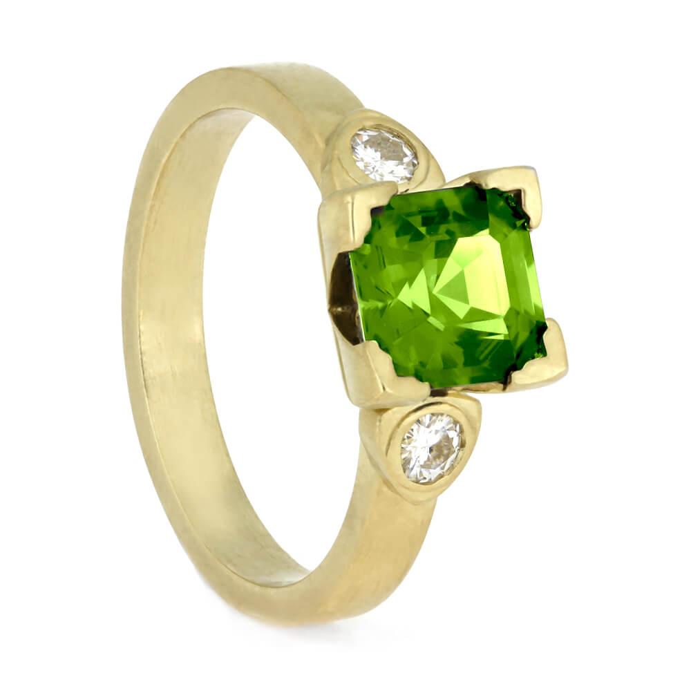 Peridot Engagement Ring In Matte Yellow Gold, Moissanite Ring
