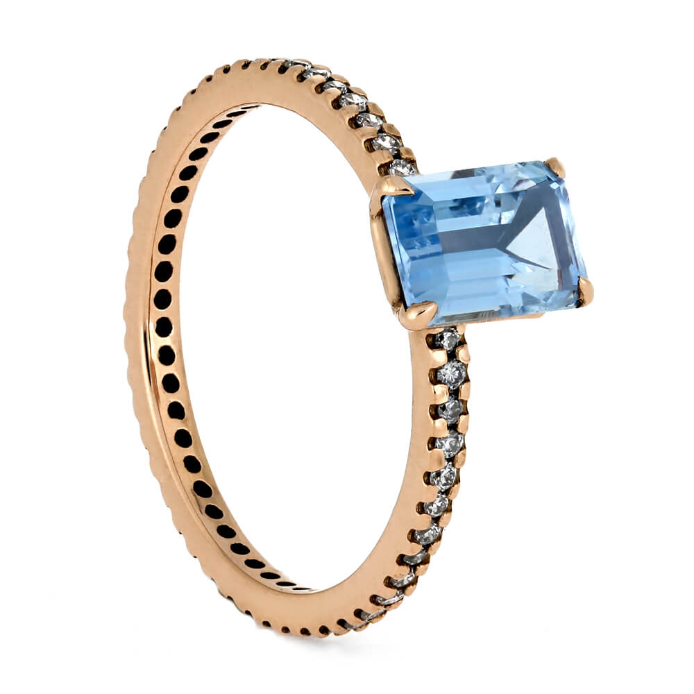 Aquamarine Engagement Ring, Diamond Eternity  Band In Rose Gold-3722