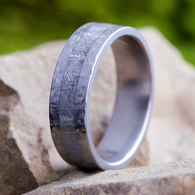 Hammered Titanium Men's Wedding Band With Gibeon Meteorite-3732 - Jewelry by Johan