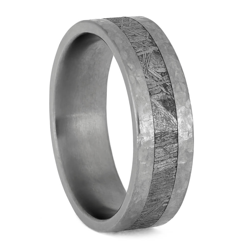 Hammered Titanium Wedding Band With Gibeon Meteorite