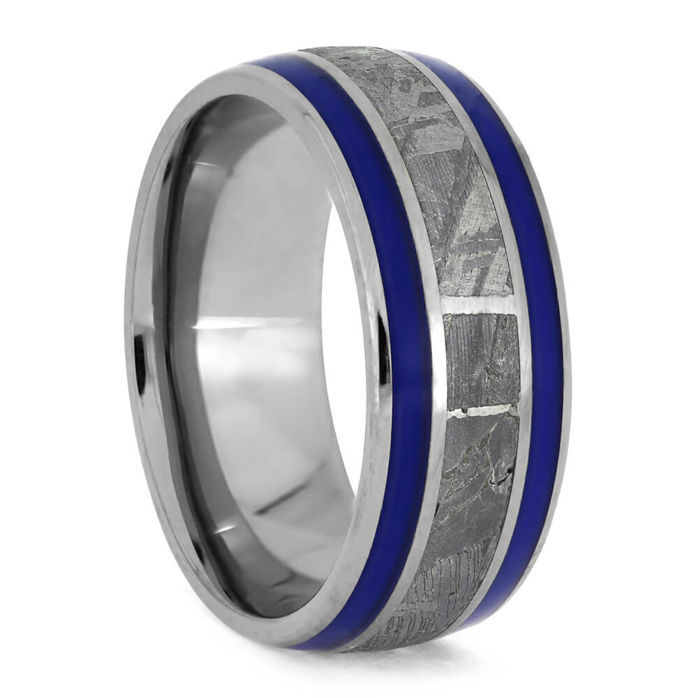 Men's Wedding Band With Two Types of Meteorite and Blue Stripes-3738 - Jewelry by Johan