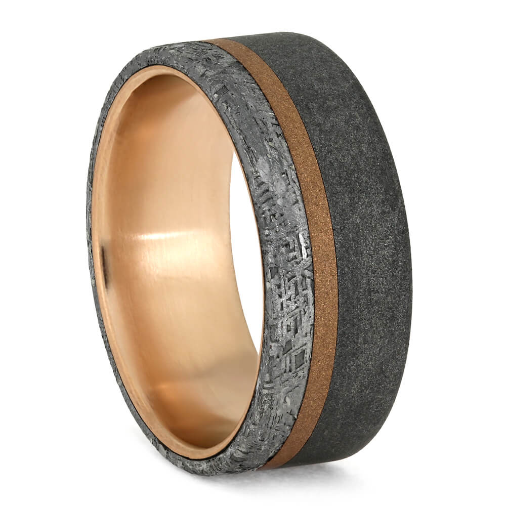 Men's Meteorite Wedding Ring With Rose Gold And Sandblasted Titanium-3763 - Jewelry by Johan
