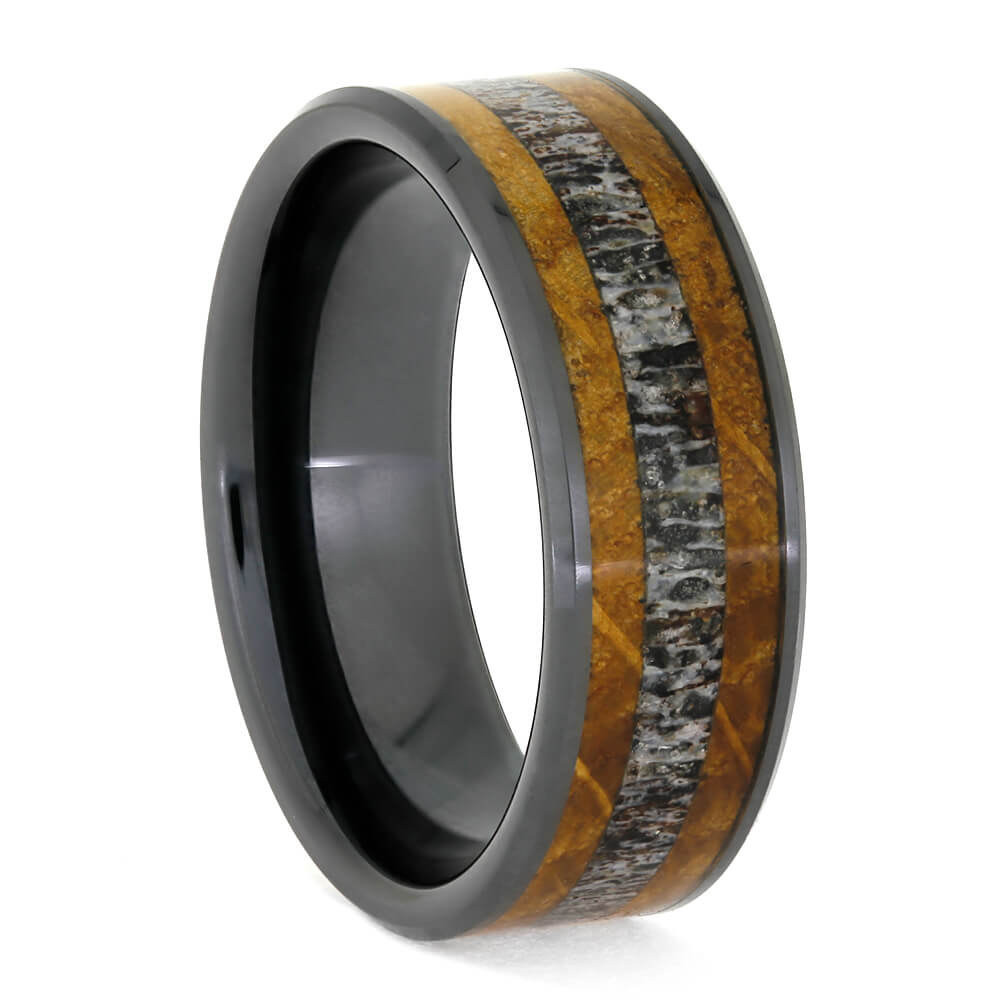 Deer Antler Wedding Band With Whiskey Barrel Oak In Black Ceramic