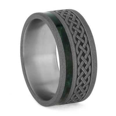 Green Wood Ring, Sandblasted Titanium Wedding Band With Celtic Knot Engraving-3770 - Jewelry by Johan