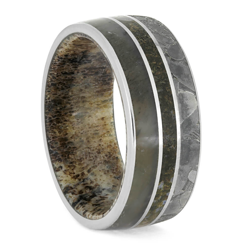 Seymchan Meteorite Men's Wedding Band With Antler and Dino