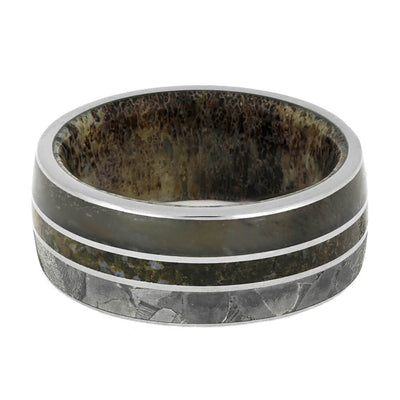 Seymchan Meteorite Men's Wedding Band With Antler and Dino-3772 - Jewelry by Johan