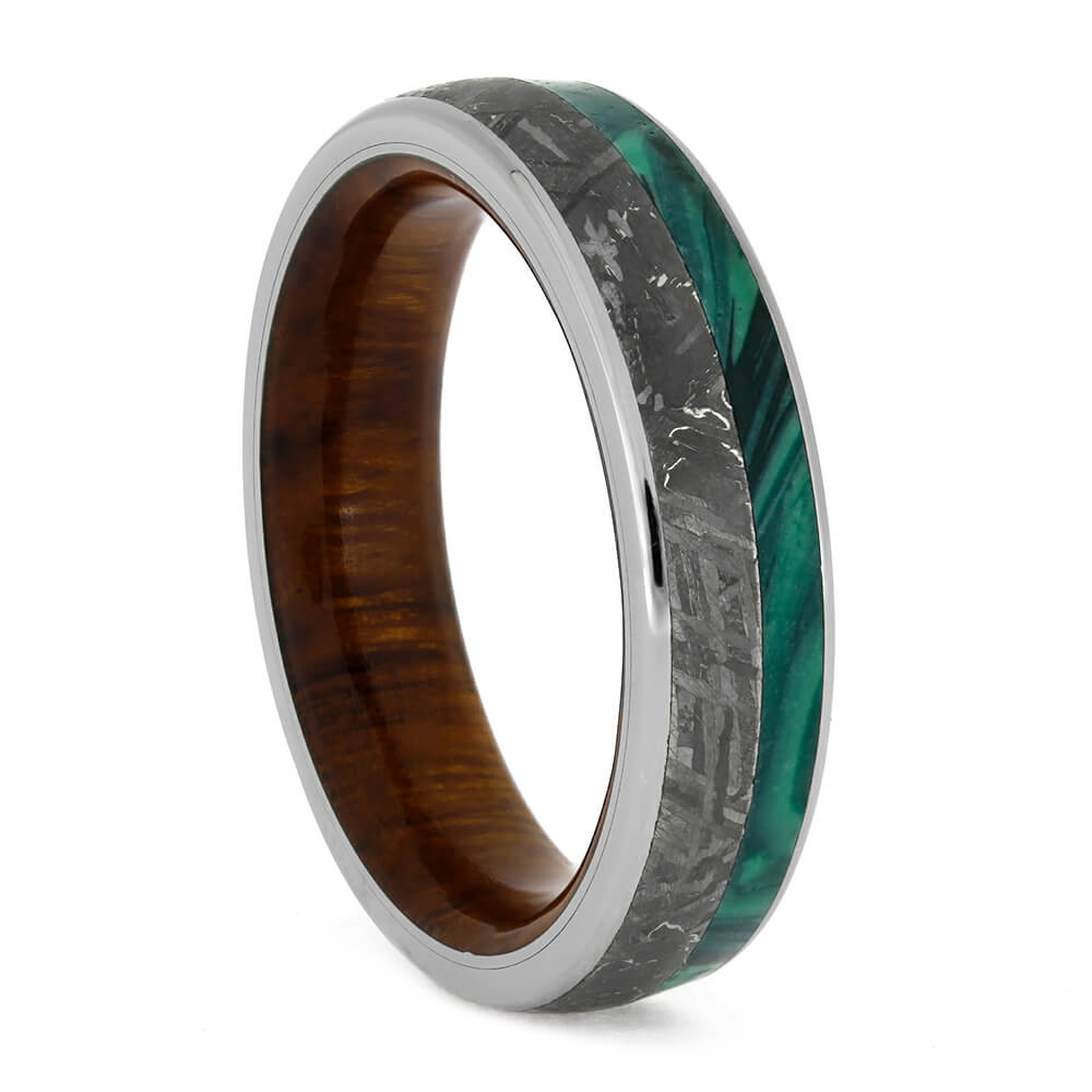 Unique Men's Wedding Band With Meteorite, Ironwood Sleeve and Malachite-3787 - Jewelry by Johan