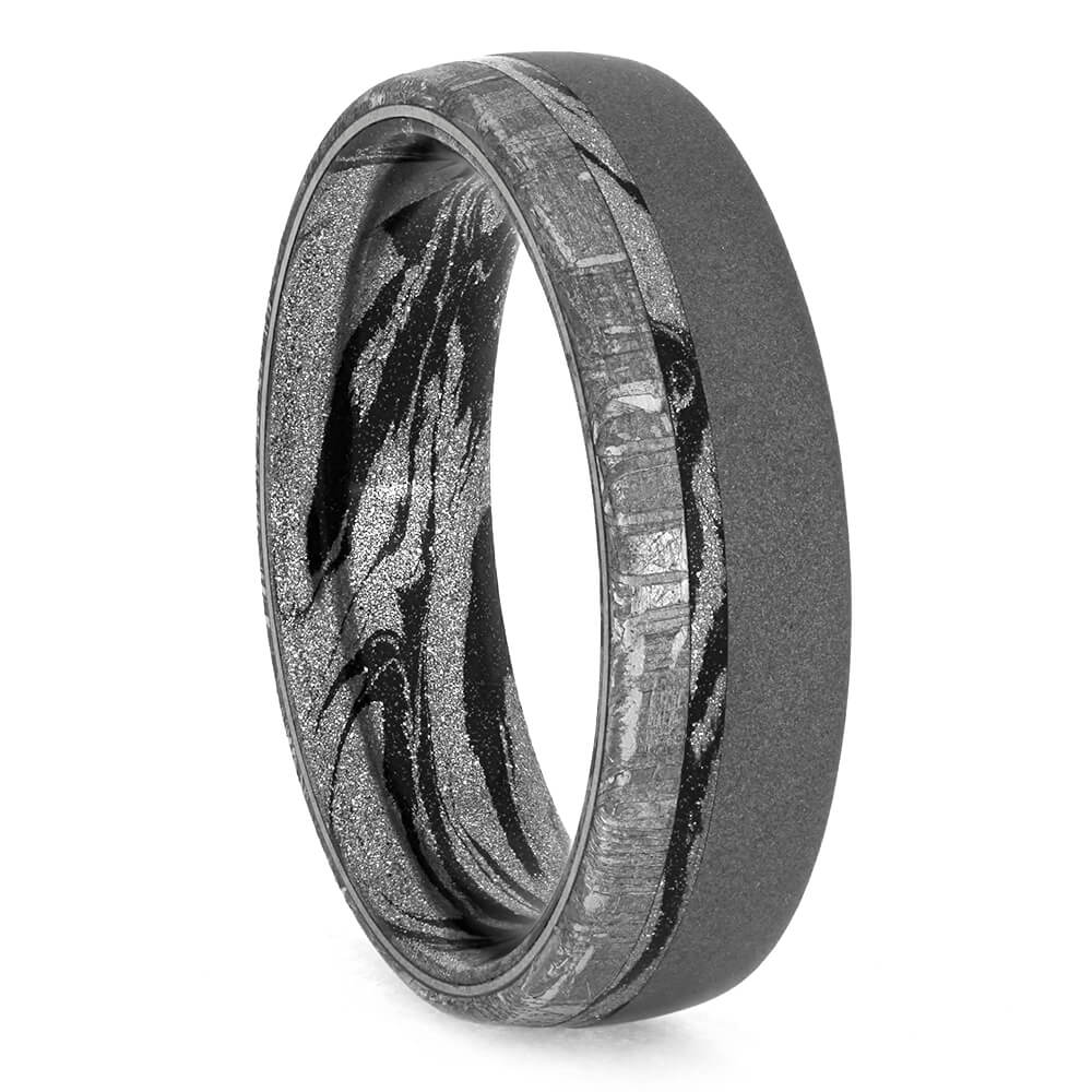 Mokume Wedding Band, Meteorite Ring with Sandblasted Finish-3834 - Jewelry by Johan