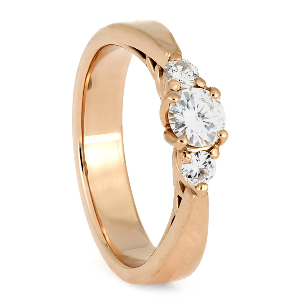 Three Stone Engagement Ring In Rose Gold With Floral Prongs-3835 - Jewelry by Johan