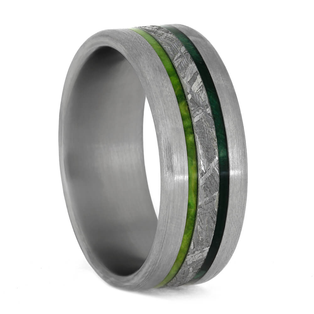 Meteorite Wedding Band With Green Wood In Titanium-3852 - Jewelry by Johan