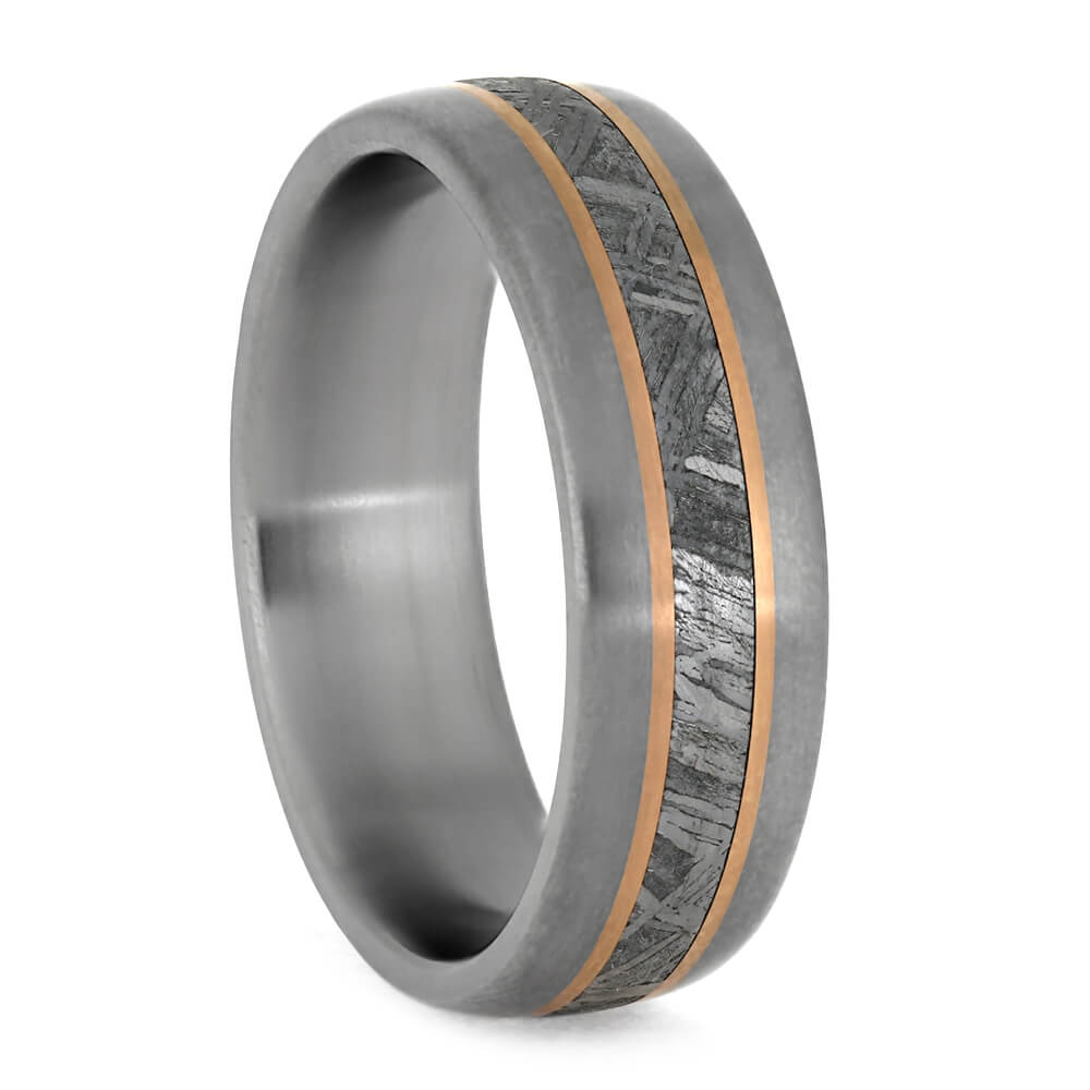 Meteorite Ring With Rose Gold Pinstripes, Men's Wedding Band-3853 - Jewelry by Johan