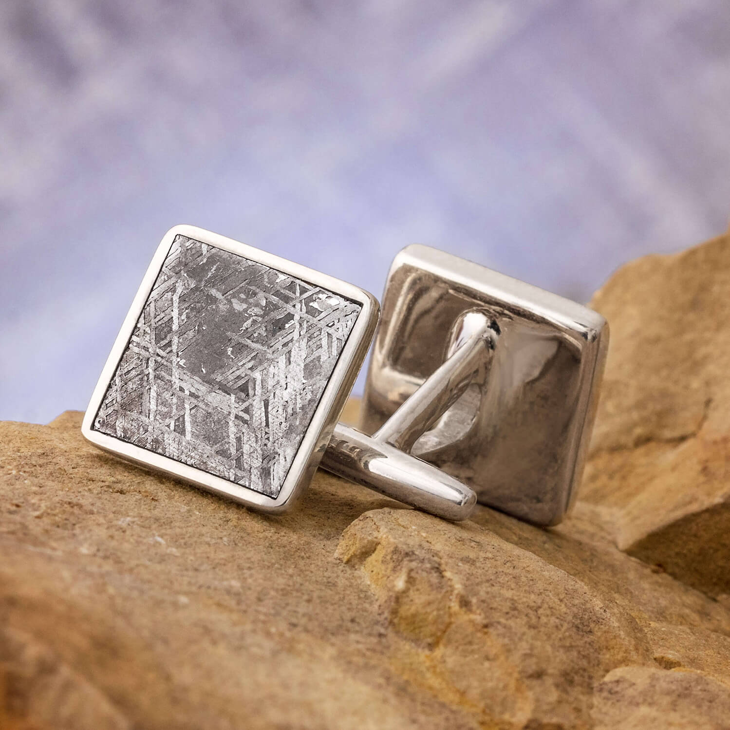 Square Meteorite Cuff Links, In Stock-SIG3055 - Jewelry by Johan