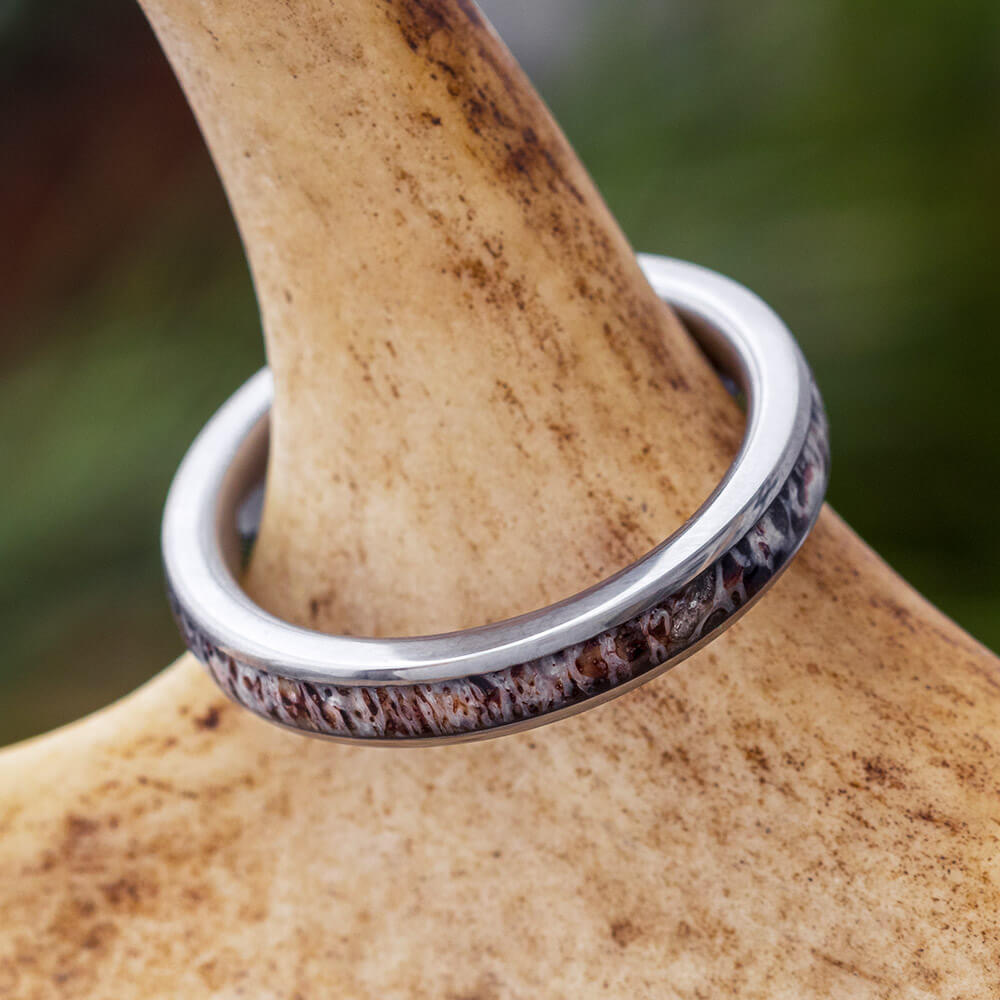 Thin Deer Antler Women's Wedding Ring, In Stock-SIG3024 - Jewelry by Johan
