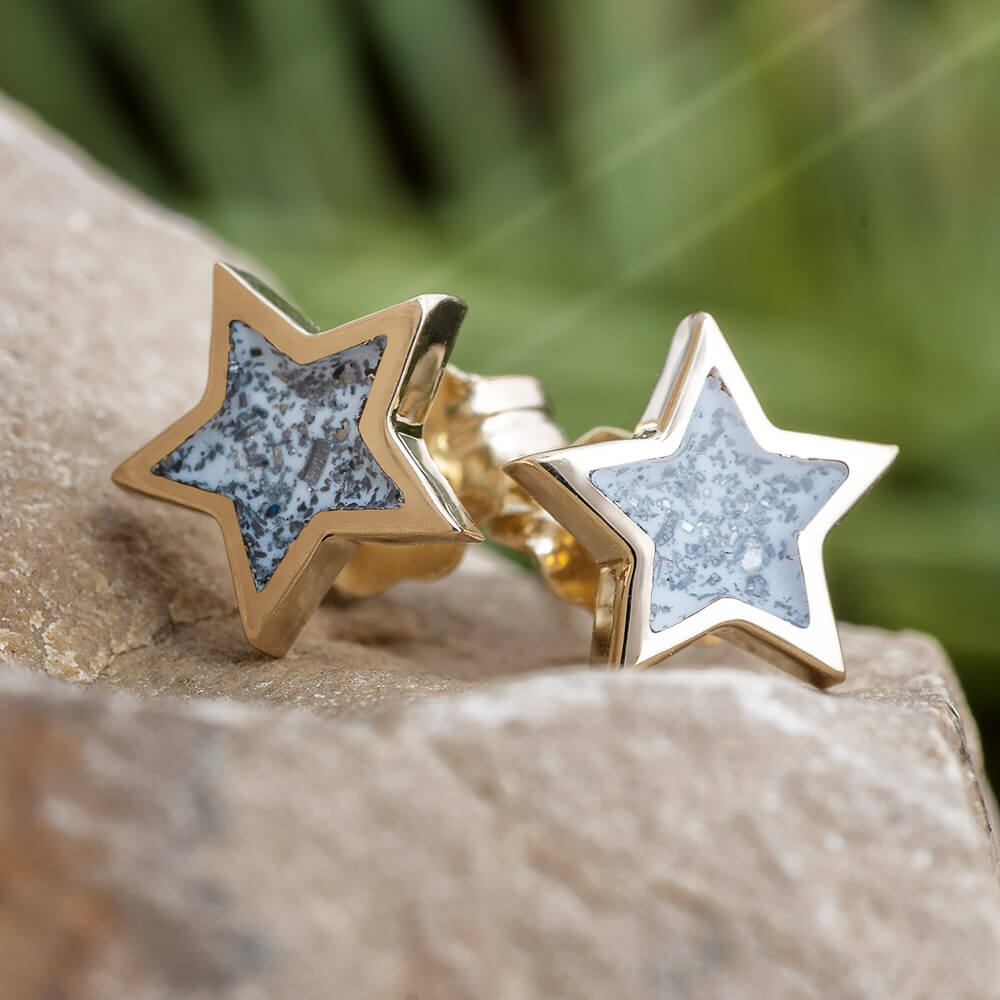Yellow Gold Star Earrings with Meteorite